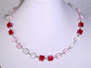 WUNDERSCHONE-Wuerfel-Kette-rot-rosa-klar-Kristall-GLAS-Wuerfel