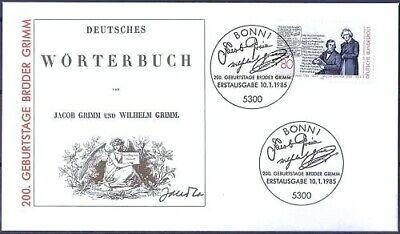 Brd 1985: Gebrüder Grimm! Fdc Nr 1236 Mit Bonner Ersttags-sonderstempeln! 1906