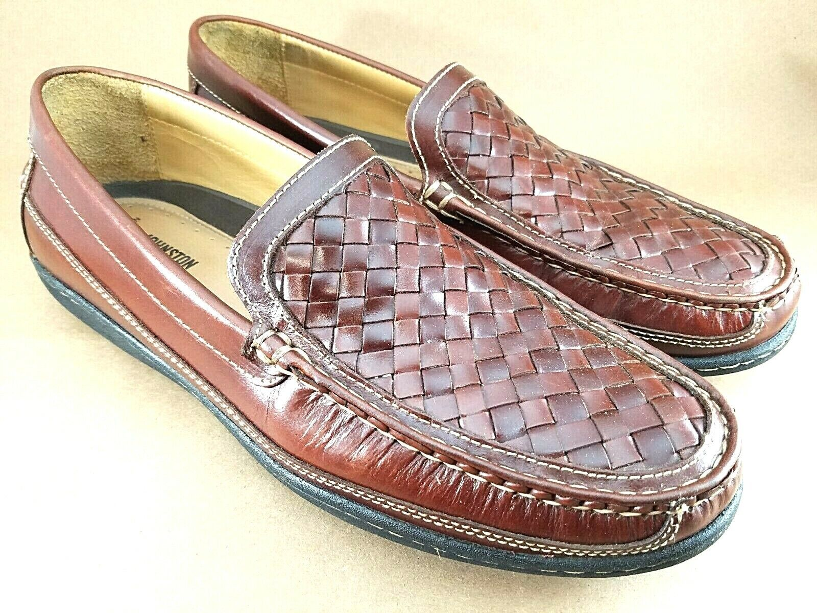 Johnston & Murphy Men's Size 10.5 M Brown Leather Flex Sole Loafers 25-8344