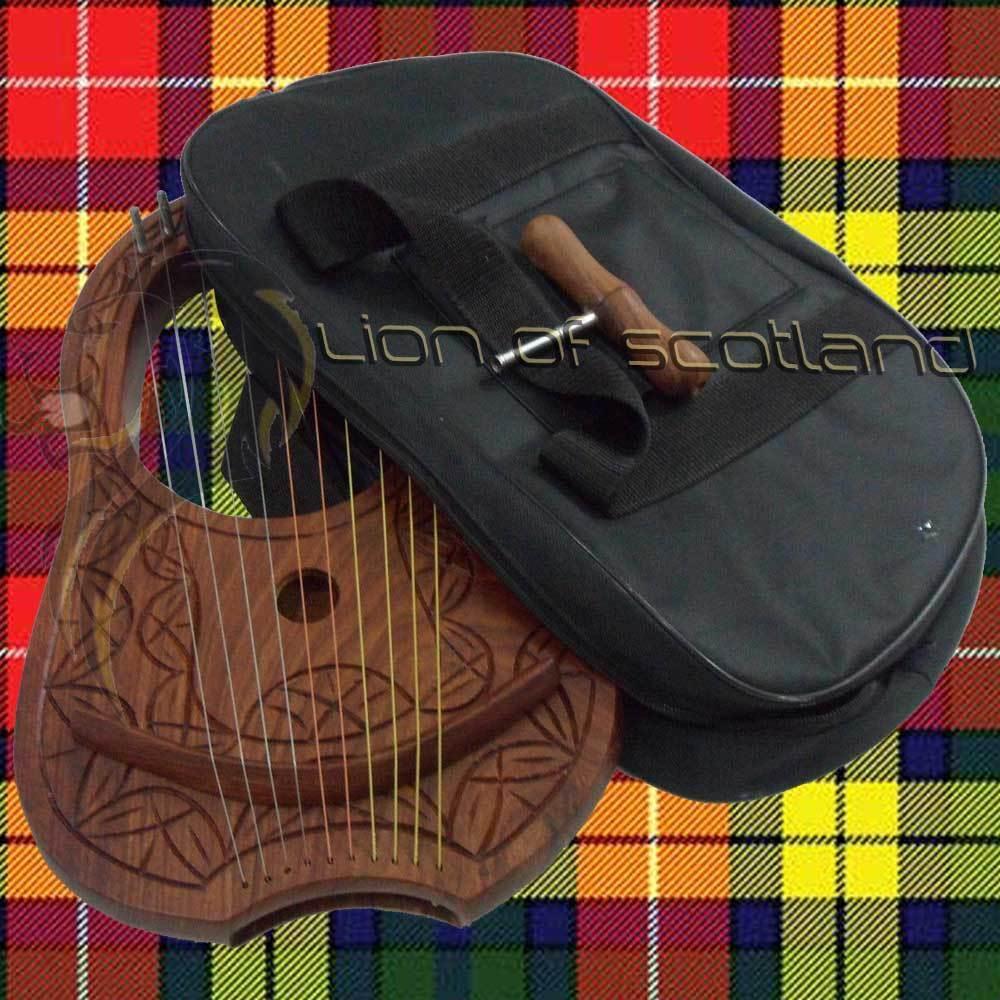 Lyra Harp Rosewood 10 Metal String/Sheesham Wood Lyre Harps Free Case Harfe