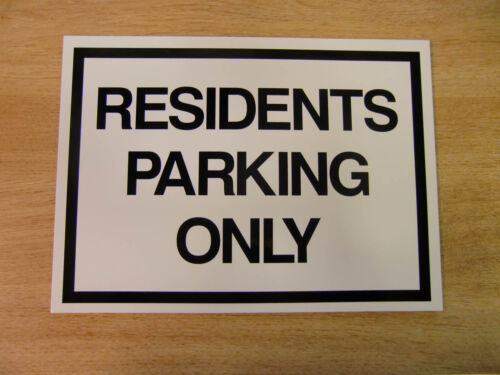 """/""""RESIDENTS PARKING ONLY/"""" 275mm x 200mm rigid plastic warning sign 11in x 8in"""