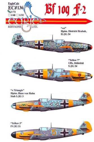 EagleCals Decals 1//72 MESSERSCHMITT Bf-109F-2 Fighter JG3 JG51 /& JG54