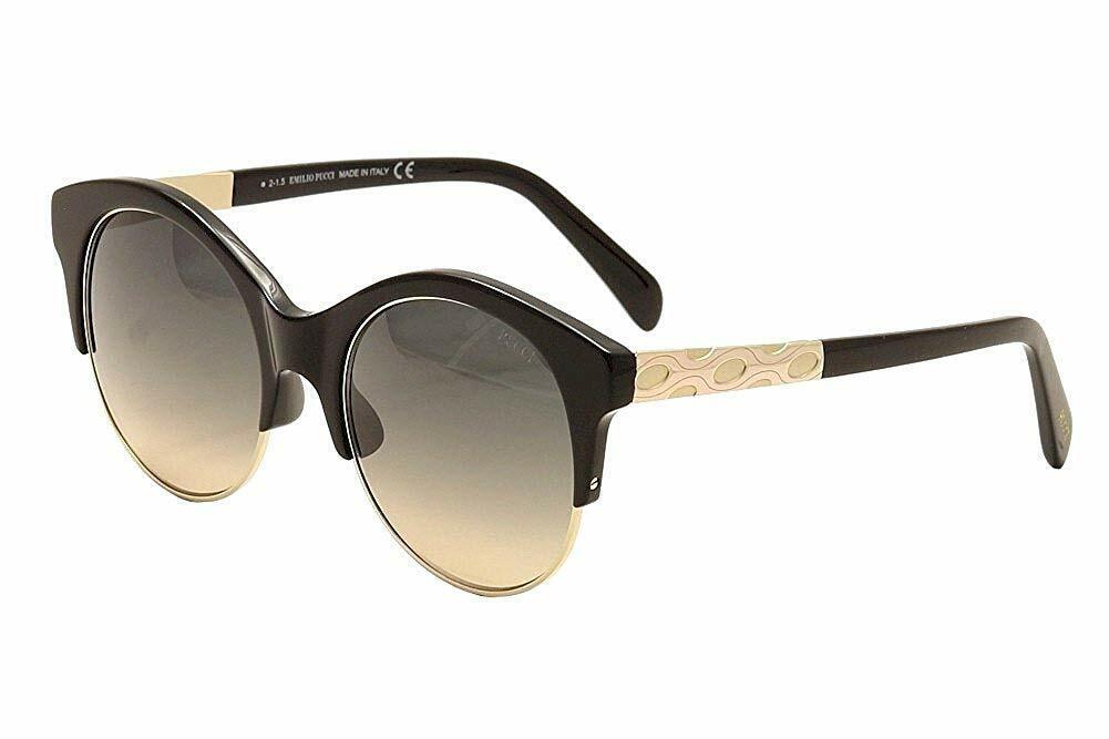 Authentic Emilio Pucci 0023 - 01B Sunglasses Glossy Black / Grad Smoke*NEW* 54mm