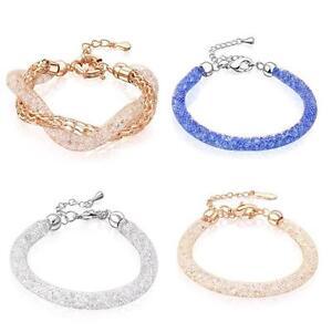 Image is loading Gold-Plated-Mesh-3D-Stardust-Bracelet-with-Swarovski- 1486364ef