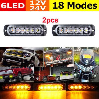 Led Strobe Lights For Trucks >> 2 Amber Led Strobe Lights 6led Emergency Truck Side Marker Grille Flash Strobe Ebay
