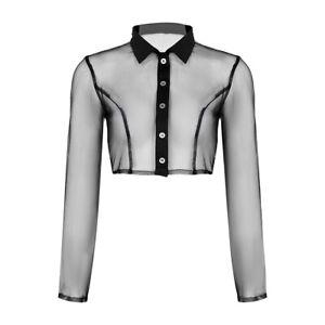 Women-039-s-Sheer-Mesh-See-Through-Long-Sleeves-Casual-Blouse-T-Shirt-Crop-Tee-Tops