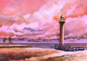 Broadwater Beach Lighthouse Sunset Biloxi Miss James Mann