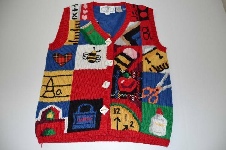 TEACHER SCHOOL LEARNING LUNCH UGLY KNIT SWEATER VEST WOMENS SIZE LARGE L