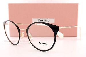69eccd0f93 Brand New Miu Miu Eyeglass Frames MU 51P 51PV 1AB BLACK GOLD For ...