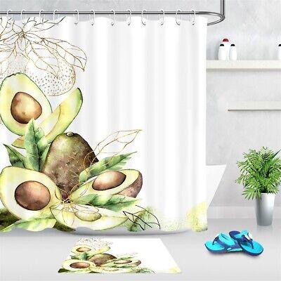 Watercolor Fruits Avocado Green Leaves
