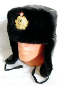 35d907081 Details about USSR Russian Navy Officer Black Mouton Sheepskin Fur Ushanka  Hat Badge 60cm XL