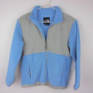 b8a7a0d16 Details about The North Face Girls Light Blue Gray Denali Fleece Zip Up  Jacket Large 14-16