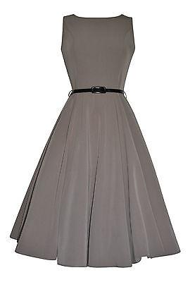 Vintage Retro 40's 50's Audrey Mocha Mid Calf Rockabilly Swing Dress New 8 - 20