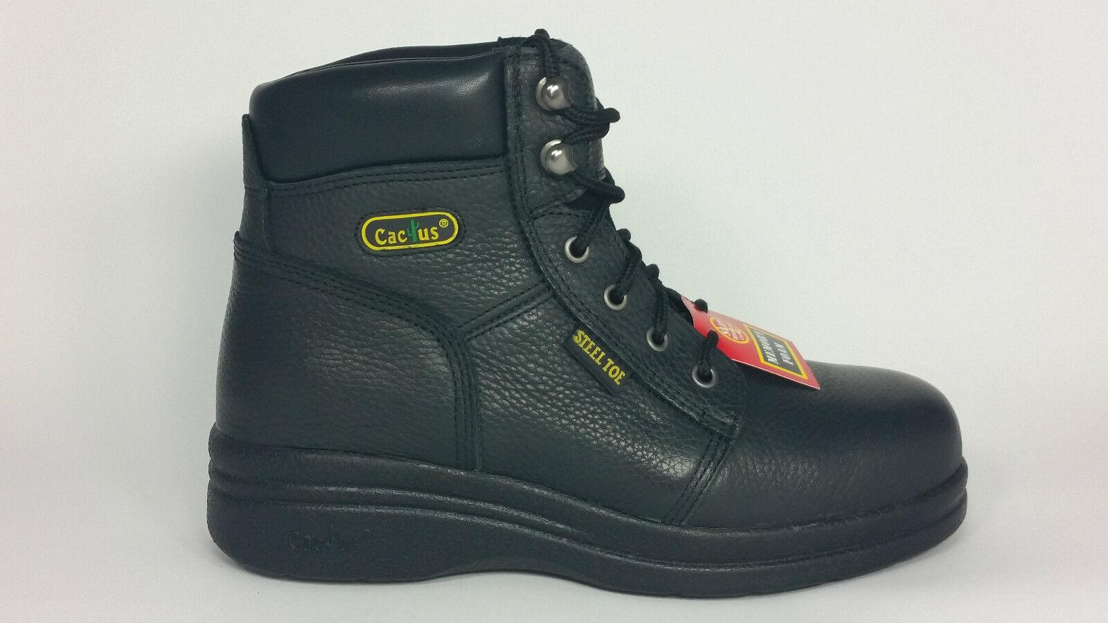 Cactus Work bottes 6  Noir 6600 S (Steel Toe) et antidérapant en cuir véritable neuf dans boîte