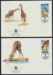 Details about Kenya 491-4 on FDC's - WWF, Giraffes