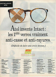 Publicité Advertising 1993 ATOL optique lunette monture opticien vue ... a31b48841860