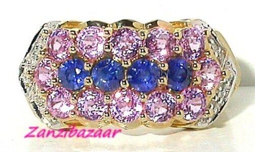 14K YELLOW GOLD PINK, BLUE SAPPHIRE & DIAMOND RING