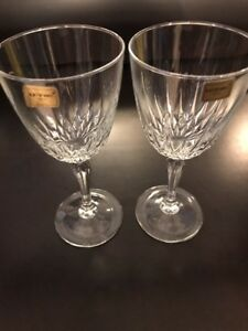Luminarc-Crystal-Wine-Goblets-Cris-D-039-Arques-Durand-Diamant-Pattern-Great-Gift
