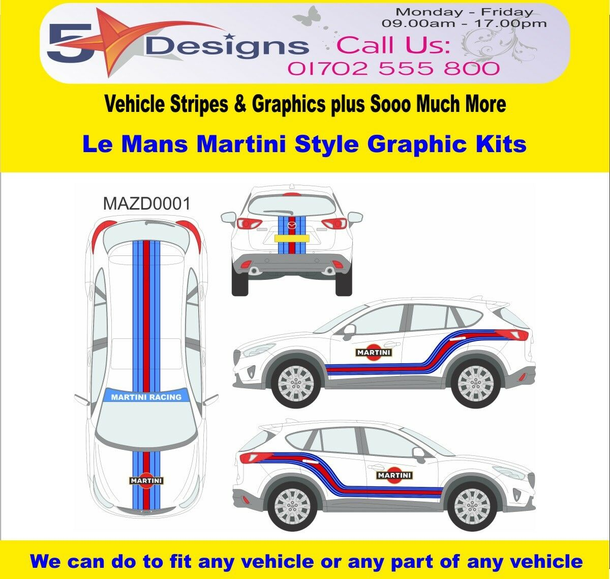 MAZDA CX5 2012-14 Le Mans Martini Race Rally Logo Graphics Kit 1