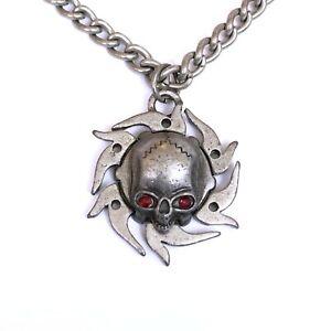 Gothic-Horror-Punk-80s-Heavy-Metal-Death-Red-Eye-Skull-Pendant-Necklace-Choker