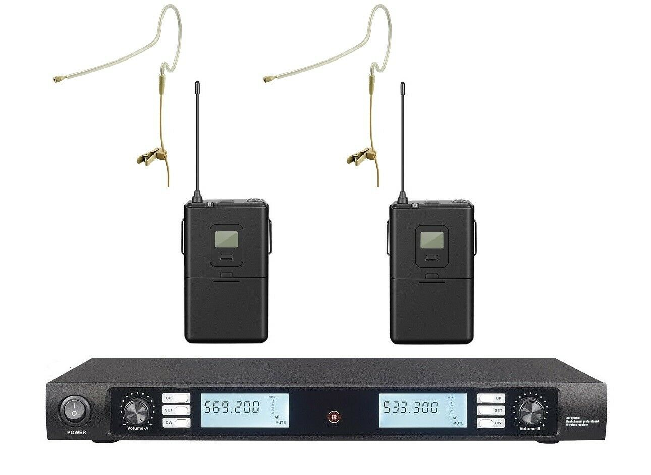 Auriculares inalámbricos de una sola Earset uhf doble sistema sistema sistema de micrófono de cabeza