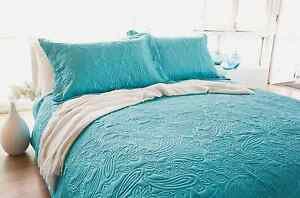 Image Is Loading Bambury Paisley Peacock Embossed Single Double Bed Coverlet