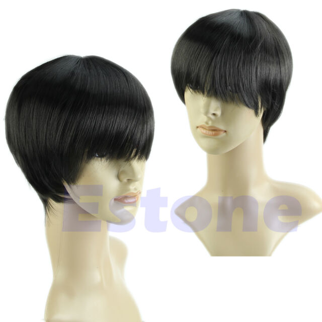 Vogue Men Male Handsome Boys Short Straight Full Wigs Cosplay Party Costume Hair