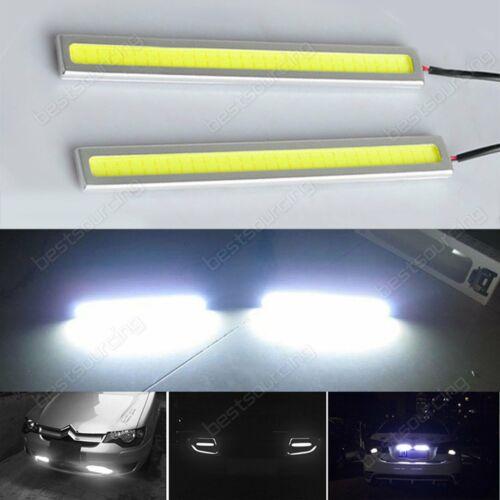 2x 6W 17CM COB Car LED Strip Sidelight Bumper Daytime Running Light Lamps White