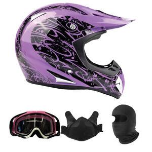 Adult Snocross Combo Purple Snowmobile Helmet BreathBox Goggles Balaclava DOT