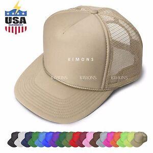 Foam Mesh Trucker Hat Baseball Cap Adjustable Snapback Solid Plain Ball