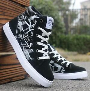 mens casual high top sport sneakers athletic skate board