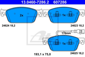 Scheibenbremse für Bremsanlage Vorderachse ATE 13.0460-7286.2 Bremsbelagsatz