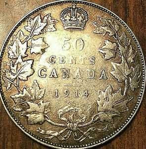 1914-CANADA-SILVER-50-CENTS-FIFTY-CENTS-COIN