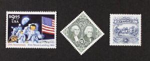 US 1994 #2842 Moon-$9.95, #2590 $1-Burgoyne, #2592 $5-Jackson set of 3 Mint NH