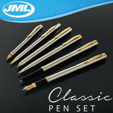 JML Set of 6 Classic Signature Brushed Stainless Steel Pens + 66 pc Refill Set