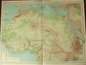 1922 LARGE ANTIQUE MAP NORTHERN AFRICA LIBERIA IVORY COAT
