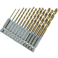 13pc HSS HIGH SPEED STEEL DRILL BIT SET HEX SHANK BITS - TITANIUM COATED NEW