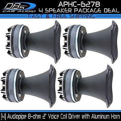 "2/"" Compression Driver Horn 8 ohm Super Tweeter Speaker Pair Audiopipe APHC-6278"