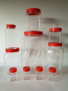 Image is loading Sunpet-Red-Top-jar-pots-Kitchen-screw-top- & Sunpet Red Top jar pots Kitchen screw top square Plastic Food ...