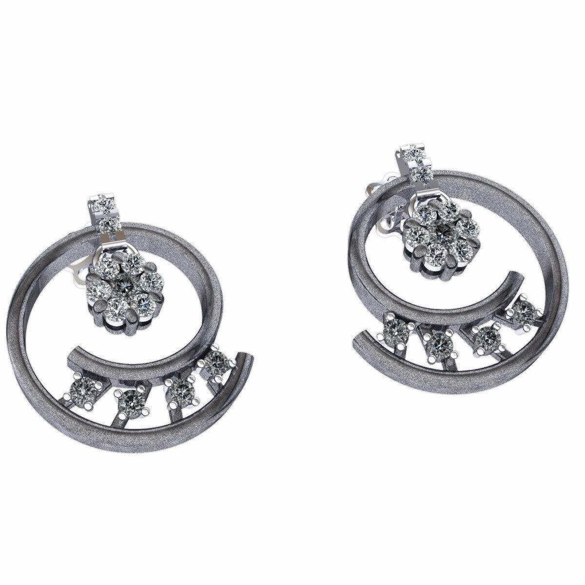 Real 0.4carat Round Cut Diamond Ladies Swirl Flower Earrings Solid 14K gold