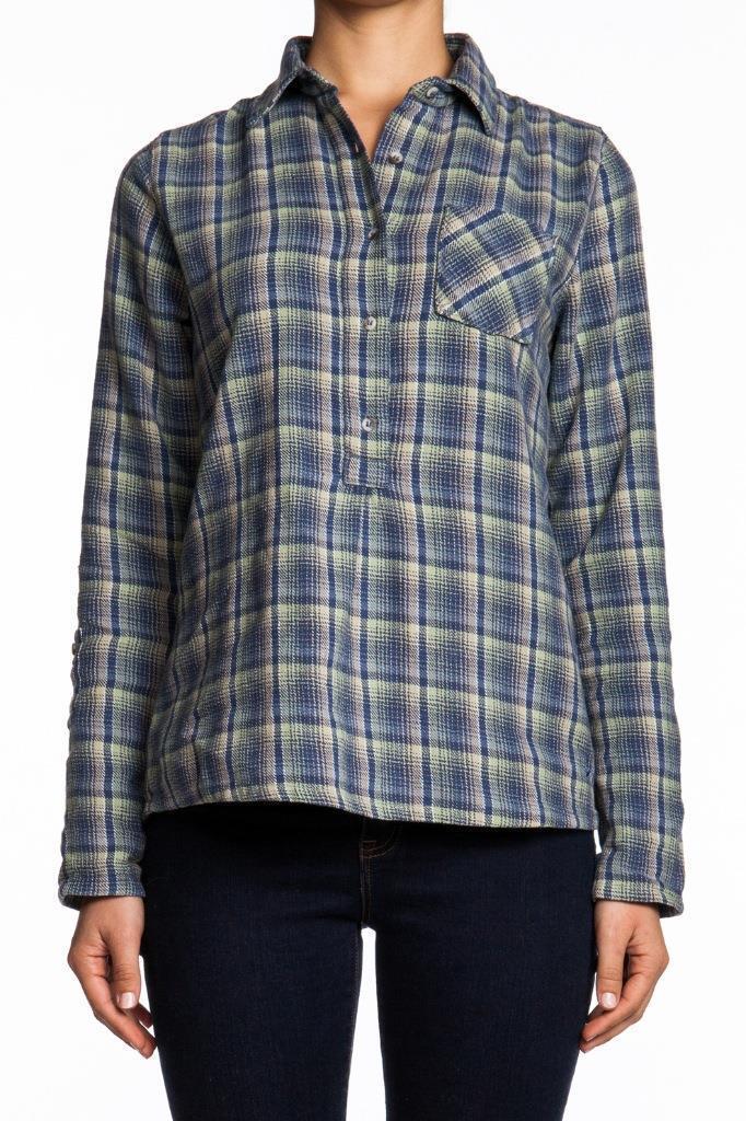 MiH Jeans Pull On Shirt Surfer Check SH1417SC Blau Plaid Cotton Button Checkard