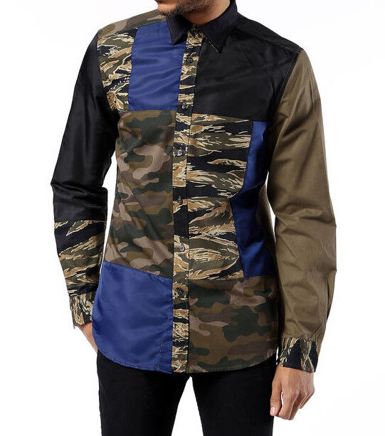 NEW DIESEL Cotton Camo Casual Button up Long Sleeve Collar Shirt S Small