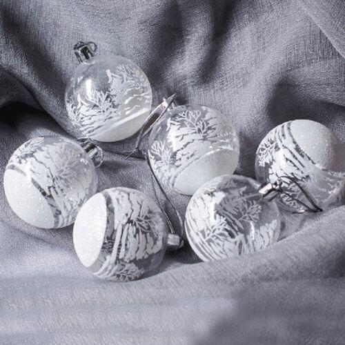 6Pcs//Set Christmas Tree Ball Snow Baubles Xmas Hanging Ornaments New Year Decor