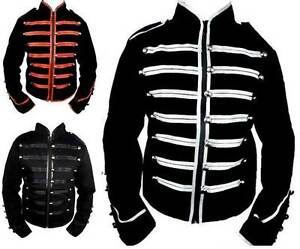 New-Black-Silver-Red-Steampunk-Emo-Punk-Jawbreaker-MCR-Military-Parade-Jacket