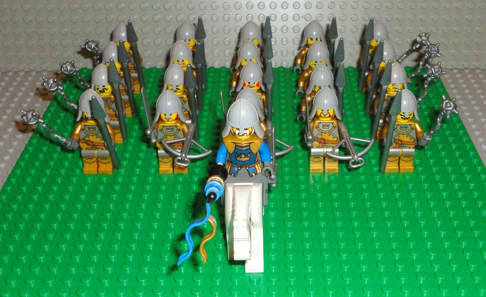 LEGO Minifigures Lot 21 Gold Crown Knights Army Castle Guys Lego Minifigs People