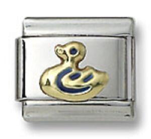 New-Authentic18k-Gold-Italian-Charm-Blue-Enamel-Duck-9mm-Modular-Link-Bracelet