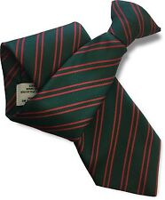 Bottle Green Mens Clip On Tie Clipper with Double Red Stripes
