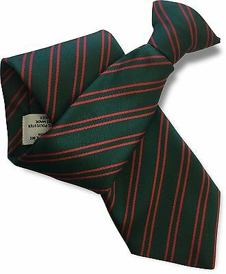 Bottle Green Mens Security Clip On Tie Clipper with wide spaced Silver Stripes