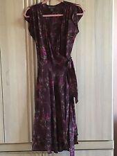 BANANA REPUBLIC Floral Flutter Sleeve True Wrap Tie Waist 100% Silk Dress SZ 4