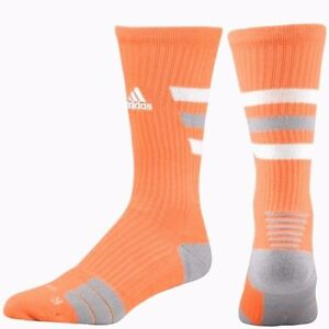 64ca0cc58cbb ADIDAS Team Speed Traxion Crew 1 Pair Socks Orange White Gray Stripe ...